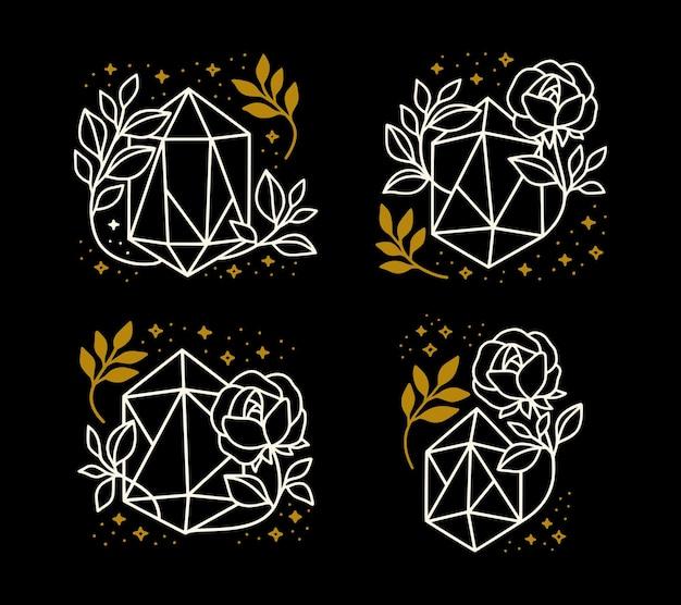 크리스탈, 꽃, 별 및 잎 가지와 손으로 그린 마법 요소의 컬렉션
