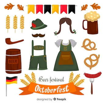 Collection of hand drawn oktoberfest elements