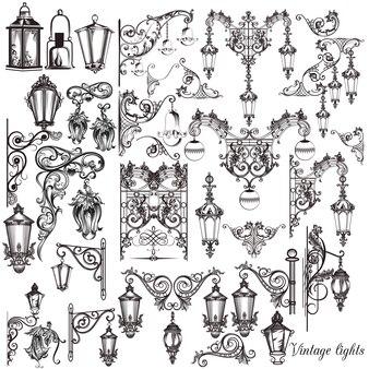 Коллекция рукописных декоративных фонарных столбах