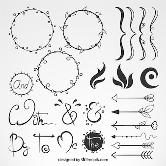 Collection of hand drawn ornaments with catchword and arrow