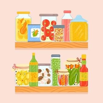 さまざまな食品と手描きのパントリーのコレクション
