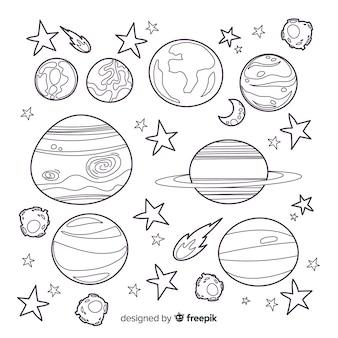 Коллекция рисованной планет