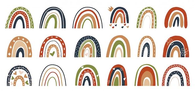 스칸디나비아 스타일에서 손으로 그린 무지개 요소 그림의 컬렉션