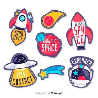Коллекция рисованной космических наклеек