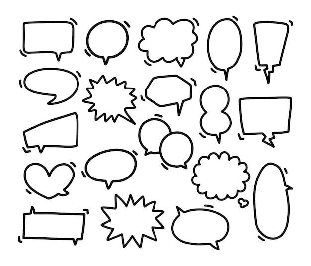 손으로 그린 연설 거품, 연설 거품 만화 및 생각 풍선, 낙서의 컬렉션입니다.