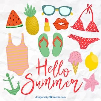 Коллекция рисованных летних элементов в винтажном стиле