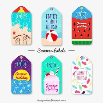 Коллекция летних наклеек от руки