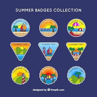 Коллекция нарисованных от руки летних наклеек