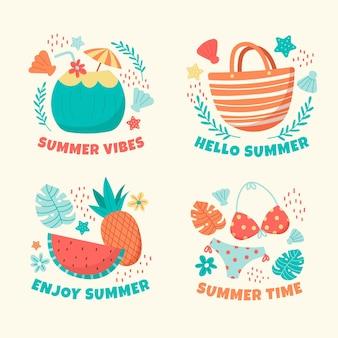 Коллекция рисованной летнее время значки