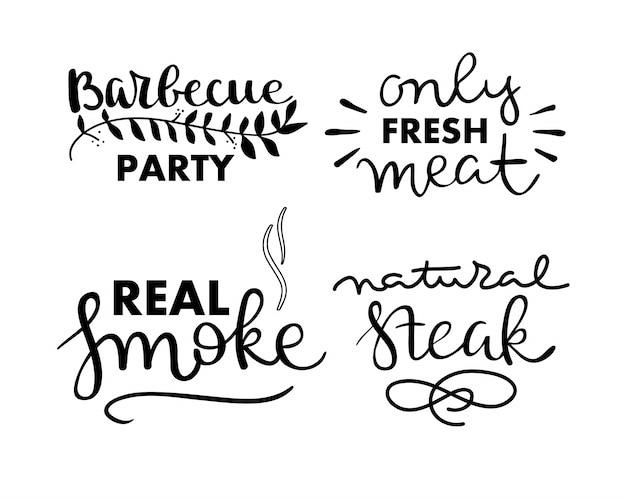 Коллекция рукописного текста жареной пищи, колбас, курицы, картофеля-фри, стейков, рыбы