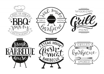 Collection of hand drawn text of grilled food, sausages, chicken, french fries, steaks, fish