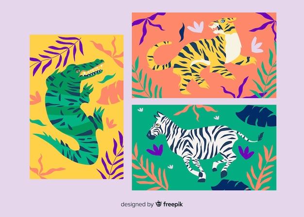 手描きの虎カードのコレクション