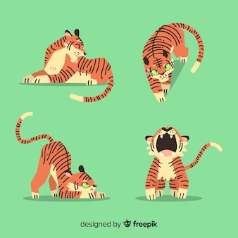 Коллекция рисованной тигров