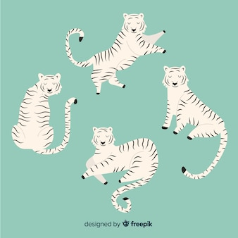 손으로 그린 호랑이의 컬렉션