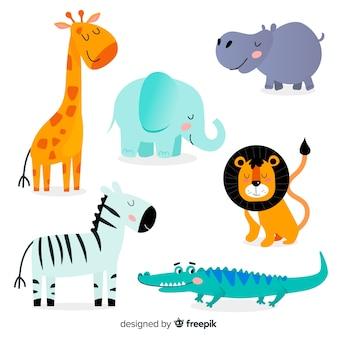 Коллекция рисованной тропических животных