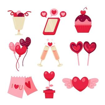 손으로 그린 발렌타인 요소의 컬렉션