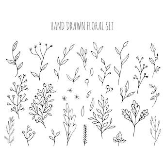 손으로 그린 벡터 꽃무늬와 잎, 꽃, 열매가 있는 나뭇가지의 컬렉션입니다. 현대 스케치 컬렉션입니다. 디자인을 위한 장식 요소입니다. 잉크, 빈티지 벡터입니다.