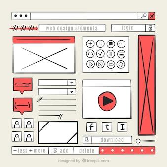 손으로 그린 웹 사이트 요소 컬렉션
