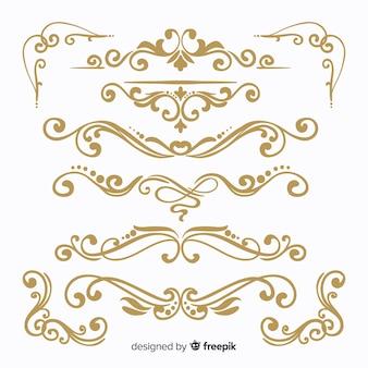 Коллекция рисованной свадебного орнамента