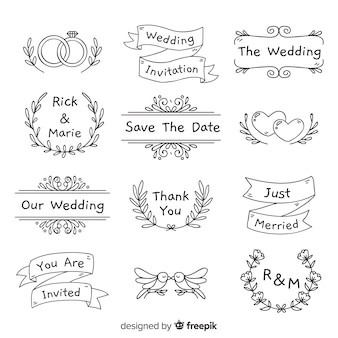 手描きの結婚式の飾りのコレクション
