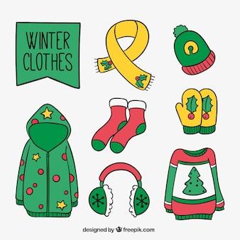 Коллекция рукописных зимней одежды с рождественских деталей