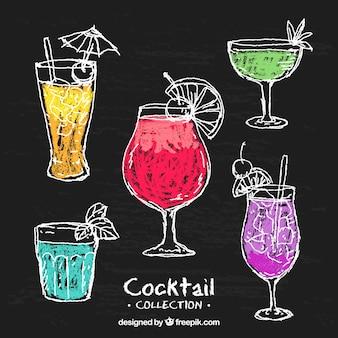 Коллекция рисованных коктейлей