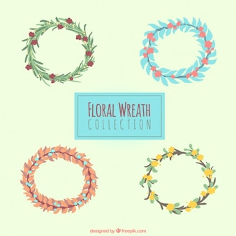 Collection of hand-painted floral wreaths