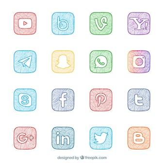 Коллекция ручной росписью социальных сетей логотипов