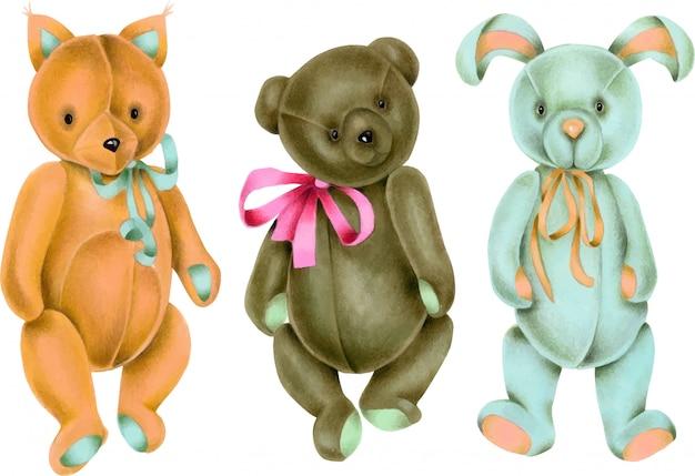 손으로 그린 빈티지 부드러운 봉제 인형 모음 (여우, 토끼 및 곰)