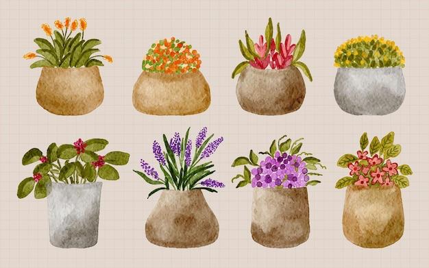 植木鉢のイラストで手描きの水彩画のかわいい観葉植物のコレクション