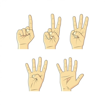 手のスケッチ、指、数字のコレクション