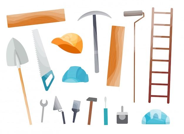 Коллекция ручного инструмента. комплект оборудования для ремонта. инструменты разнорабочего. отдельные иллюстрации в мультяшном стиле. набор инструментов для детей строителей