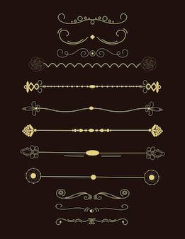 Коллекция нарисованных от руки бордюров. уникальные завитки и разделители для вашего дизайна. векторная этикетка, лента, символ, орнамент, рамки и элементы прокрутки.