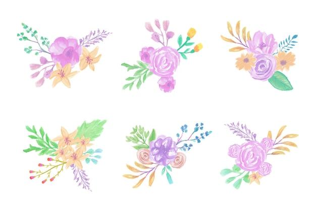 수제 수채화 꽃 예술 손으로 그린 컬렉션