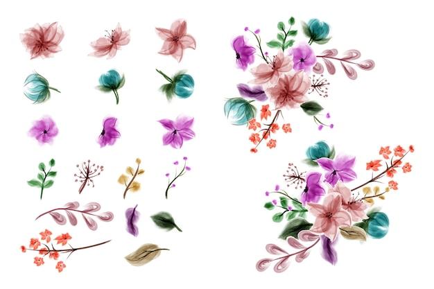 수제 수채화 꽃의 컬렉션입니다.