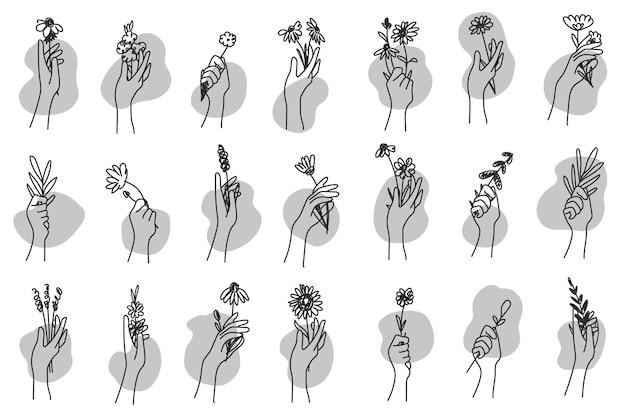 꽃다발을 들고 손의 컬렉션입니다. 꽃 장식의 번들입니다. 여름 선물 세트입니다. 벡터 일러스트 레이 션.