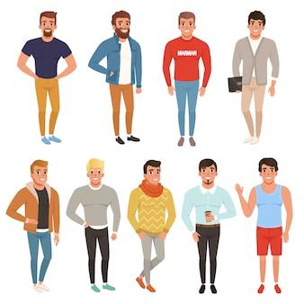 スタイリッシュな服でハンサムな男性のコレクション。カジュアルウェアー。男性キャラクターが笑顔でポーズ。カラフルなフラットデザイン
