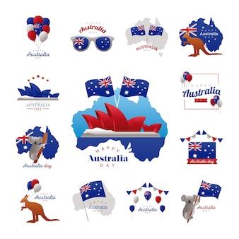 행복 한 호주 날 아이콘 모음