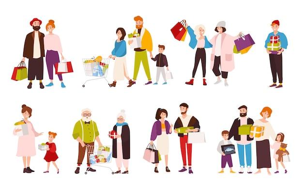 Коллекция счастливых людей с покупками. набор улыбающихся плоских мультипликационных персонажей разного возраста с хозяйственными сумками. мужчины, женщины и дети с коробками и сумками. векторная иллюстрация.