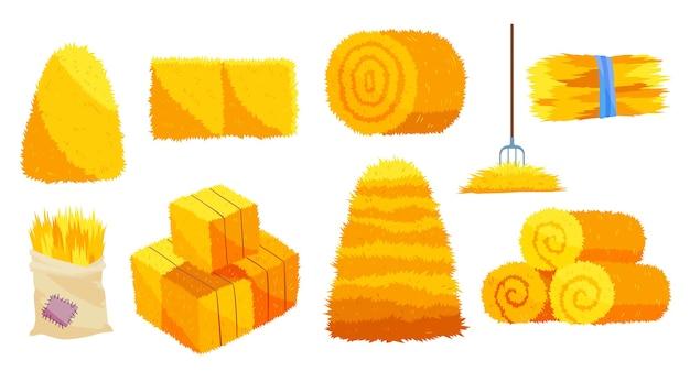 Сбор сена. плоские иллюстрации сушеные стога сена вилкой. рулоны сена. запас кормов для животноводства, объектов сельского хозяйства. ферма тюки соломы природа сельское хозяйство.