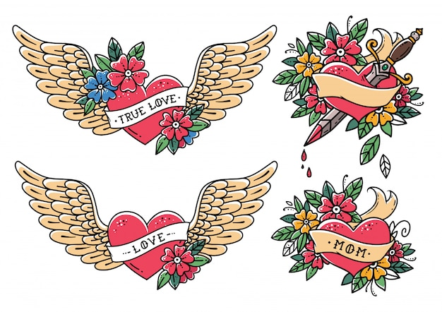 Коллекция сердце татуировки в стиле старой школы. сердце с лентой, цветами и словами мама, любовь, настоящая любовь. тату летающее сердце с цветами. сердце с кинжалом. старая школа slyle.retro тату.
