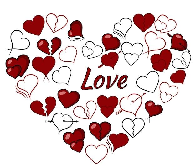Сборник сердечек .. любовь. набор сердец. изолированные на белом фоне.