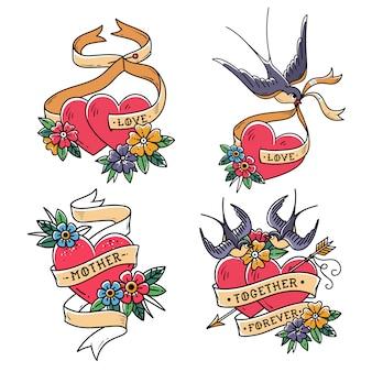 Коллекция сердец с птицами. стиль старой школы. два сердца, пронзенные стрелой. сердца с цветком и ласточка.