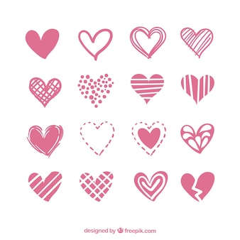 Collection of hearts with variety of designs
