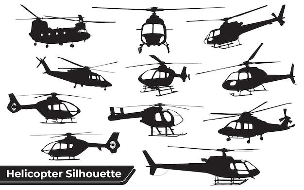 さまざまな位置にあるヘリコプターのシルエットのコレクション