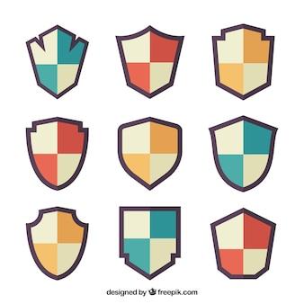 Коллекция геральдических щитов в плоском дизайне