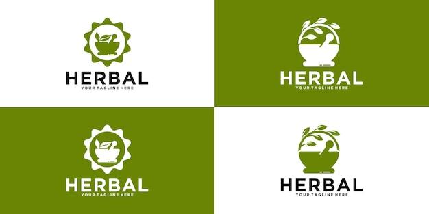 Коллекция дизайна логотипа травяных ингредиентов