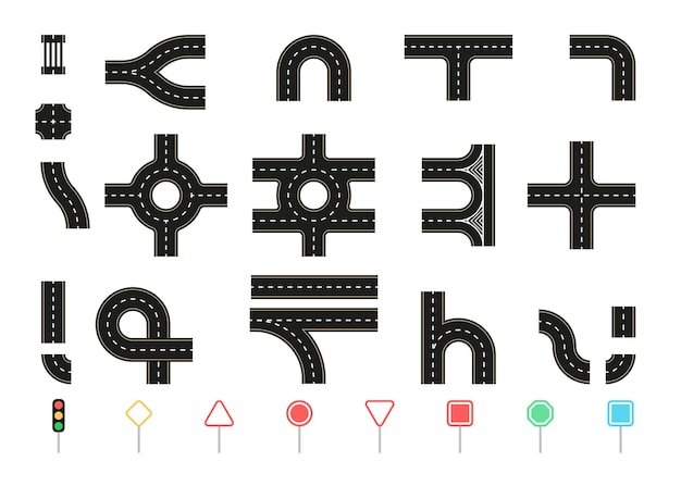 Сборник элементов шоссе. соединяемая дорога. положение сверху. светофор и дорожные знаки. пешеходные дорожки, перекрестки, кольца и повороты.
