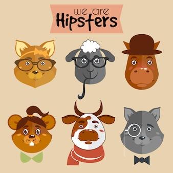 Hipster 만화 캐릭터 동물의 컬렉션