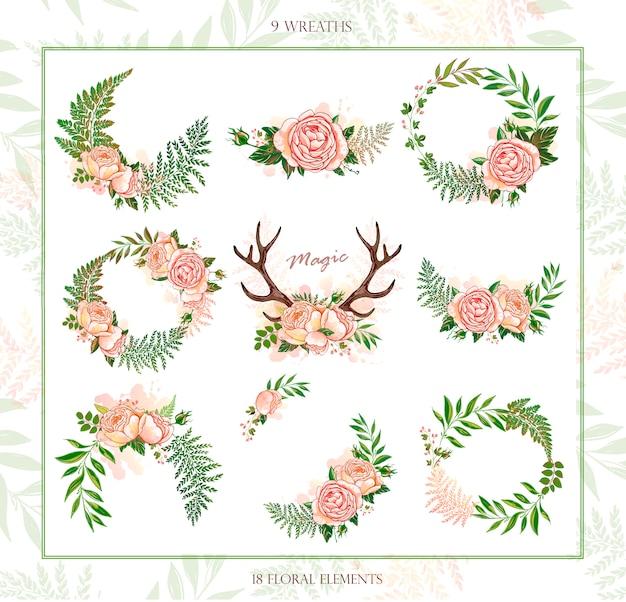 Коллекция праздничных венков в деревенском стиле. волшебные цветочные и животные элементы